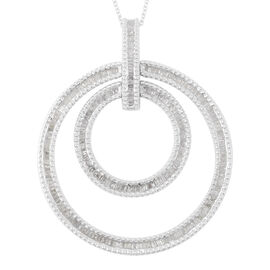 1 Carat Diamond Double Circle Pendant with Chain in Platinum Plated Silver 11 Grams 18 Inch
