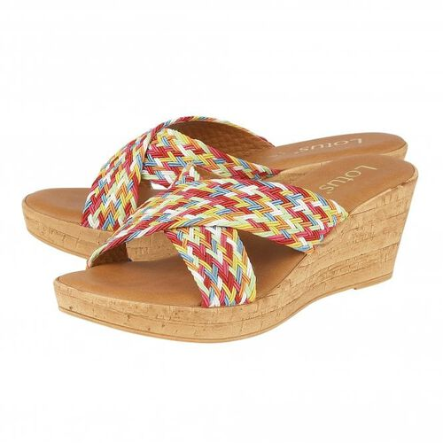 Lotus Rainbow-Multi Jacinta Mule Wedge Sandals (Size 4)