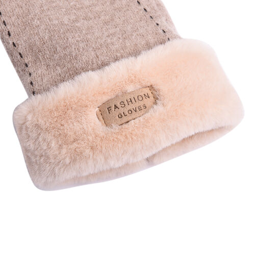 Solid Peach Colour Cashmere Gloves with Dotted Line Detail Faux Fur Trim