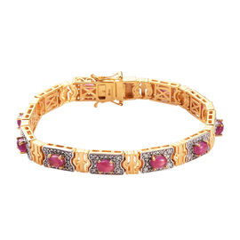 Designer Inspired  African Ruby and Natural White Zircon Bracelet (Size 7.5) in 14K Gold and Platinu