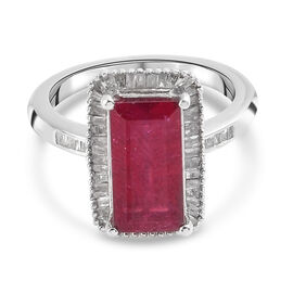African Ruby and White Diamond Ring in Platinum Overlay Sterling Silver 4.32 Ct.