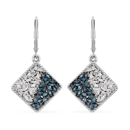 Blue and White Diamond (Bgt) Lever Back Earrings in Platinum Overlay with Blue Plating Sterling Silv