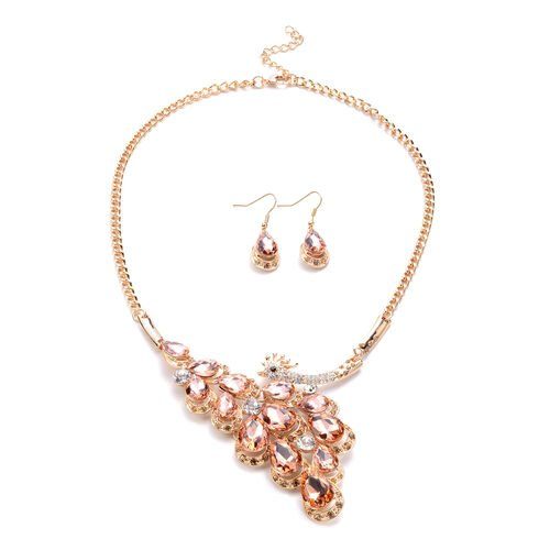 2 Piece Set - Simulated Champagne Quartz and Multi Colour Austrian Crystal Necklace (Size 22 with Ex