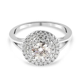 Moissanite Ring in Rhodium Overlay Sterling Silver 1.080 Ct.