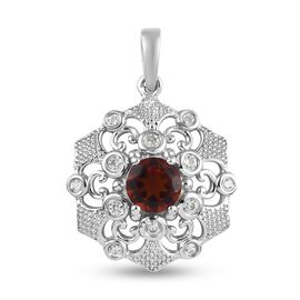 Cherry Citrine and Natural Cambodian Zircon Pendant in Platinum Overlay Sterling Silver 1.66 Ct.
