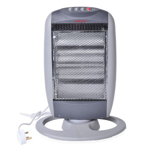 Grey Portable Halogen 3 tube Electric Oscillating Heater 1200W (Size 50 X28 X10 Cm)
