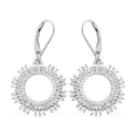 Designer Inspired- Diamond (Rnd and Bgt) Lever Back Earrings in Platinum Overlay Sterling Silver 1.000 Ct.