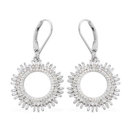 1 Carat Diamond Circle of Life Earrings in Platinum Plated Sterling Silver 5.28 Grams