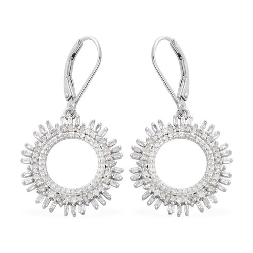 Designer Inspired- Diamond (Rnd and Bgt) Lever Back Earrings in Platinum Overlay Sterling Silver 1.000 Ct.