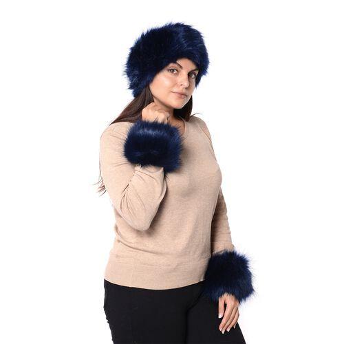 2 Piece Set - Faux Fur Headband (Size 10.2x55.9 Cm) and Wrist Warmer (Size 10.2x20.3 Cm) - Black