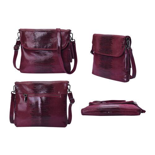100% Genuine Leather Lizard Skin Pattern Crossbody Bag with Adjustable Strap (Size 24x3x24 Cm)  - Wine Red