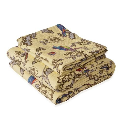 Cream, Blue and Multi Colour Floral and Birds Pattern Microfiber Reversible Quilt (Size 260X240 Cm) and 2 Pillow Shams (Size 70X50 Cm)