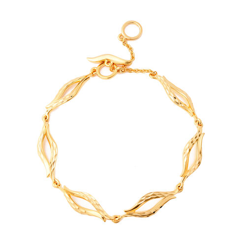 LucyQ Flame Collection - Yellow Gold Overlay Sterling Silver Bracelet (Size 8.5).Silver WT 9.20 Gms