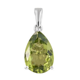 9K White Gold AAA Hebei Peridot (Pear) Solitaire Pendant 3.200 Ct.