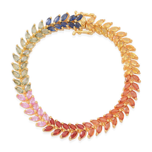 17 Carat Multi Sapphire Bracelet in 14K Gold Plated Silver Size 7.5 Inch