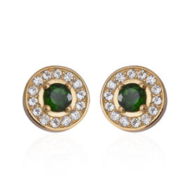 1.76 Ct Russian Diopside and Zircon Halo Stud Earrings in Gold Plated Sterling Silver