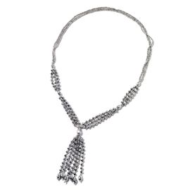 Simulated Grey Spinel Beads Tassel Necklace (Size 30)