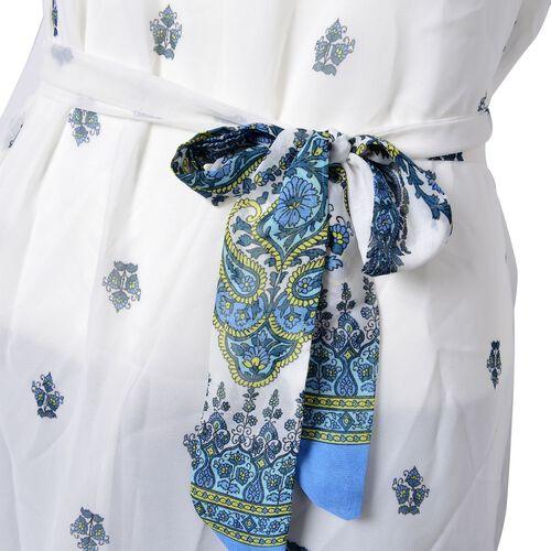 Blue and White Colour Bandana Pattern Dress (Size 108X95 Cm)