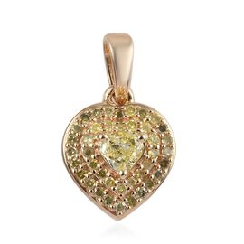 9K Yellow Gold Diamond (Hrt and Rnd) Pendant 0.40 Ct.