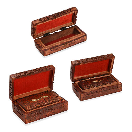 3 Piece Set- Handcrafted Flower Nested Boxes In Mango Wood With Rosewood Finish (Small Size 5.3x2.25x1.25 Cm), (Medium Size 6.7x3.5x2) and (Large 8x5x2.75 Cm)