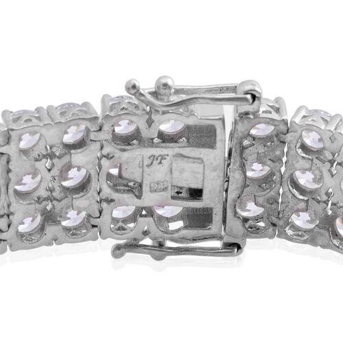 J Francis - Platinum Overlay Sterling Silver (Rnd) Bracelet Made with SWAROVSKI ZIRCONIA (Size 7.5)