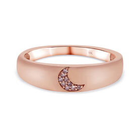 9K Rose Gold Pink Diamond Moon Band Ring