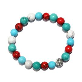 Multi Colour Howlite Stretchable Beaded Bracelet 7.5 Inch