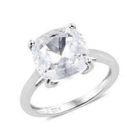 J Francis - Crystal From Swarovski - White Colour Crystal (Cush 10x10 mm) Solitaire Ring in Platinum Overlay Sterling Silver