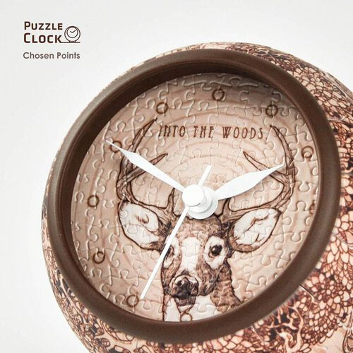 Pintoo Into the Woods Deer Pattern 3D Puzzle Clock with 145 Puzzle Pieces (Size 10x10x10.5cm)
