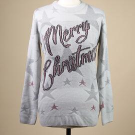 Merry Christmas Ladies Xmas Jumper (Size L/ 12-14) - Light Grey