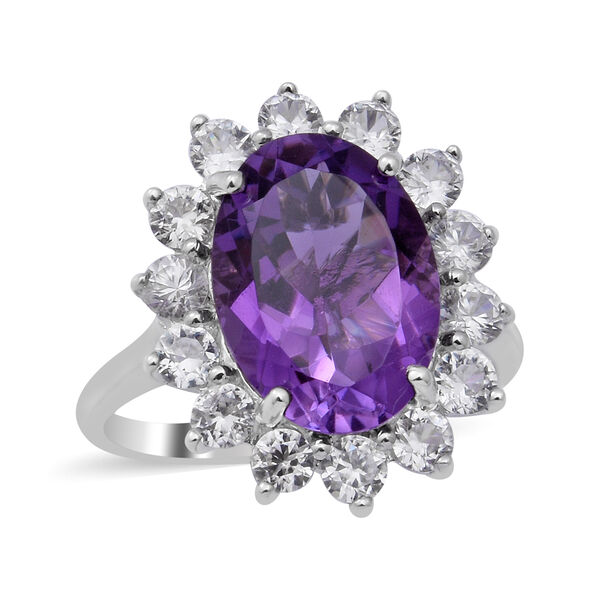 Natural Lusaka Amethyst and Natural Cambodian Zircon Floral Halo Ring in Rhodium Overlay Sterling Si
