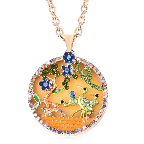 Yellow Quartzite, Simulated Emerald and Multi Colour Austrian Crystal Enamelled Floral vine and Cran