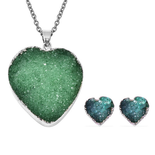 2 Piece Set -  Green Druzy Quartz Heart Stud Earrings (with Push Back) and Heart Pendant with Chain