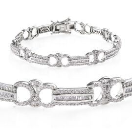 Diamond (Bgt) Bracelet (Size 7.5) in Platinum Overlay Sterling Silver   2.500 Ct, Silver wt 13.63 Gm