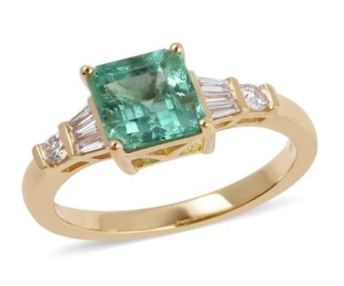ILIANA 18K Y GOLD AAA Boyaca Colombian Emerald (Oct 1.65 Ct) and Diamond (SI/G-H) Ring 1.915 Ct.