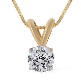 ILIANA 18K Yellow Gold Diamond (Rnd) (I1/ G-H) Pendant with Chain (Size 18) 0.50 Ct.
