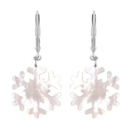 Carved White Mother of Pearl Snowflake Floral Earrings in Rhodium Plated Silver