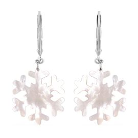 Carved White Mother of Pearl Snowflake Floral Earrings with Lever Back in Rhodium Plated Silver
