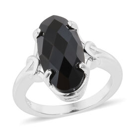 Boi Ploi Black Spinel (Ovl 16x8 mm) Ring in Sterling Silver 5.750 Ct.