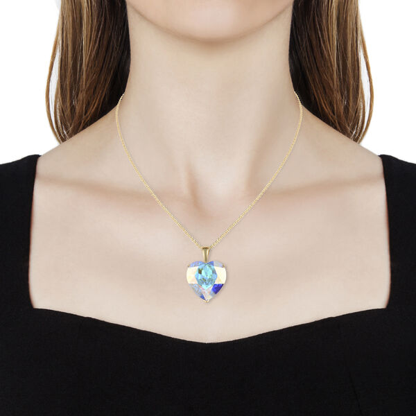 J Francis - Crystal from Swarovski AB Crystal (Hrt) Solitaire Pendant with Chain (Size 30) in 14K Gold Overlay Sterling Silver, Silver wt 10.00 Gms