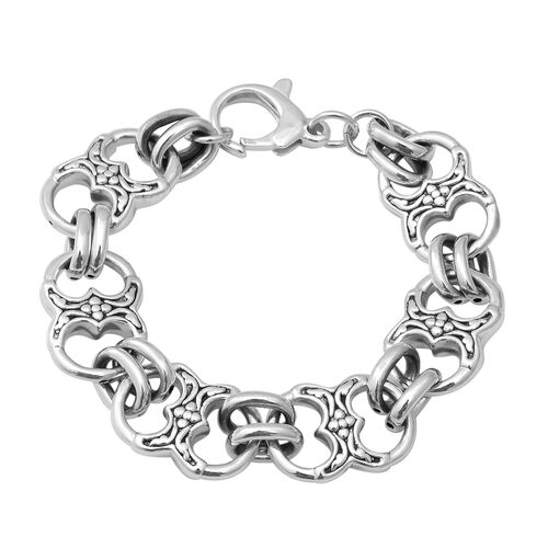 Heart and Link Bracelet with Lobster Clasp in Sterling Silver 18.64 Grams 7.5 Inch