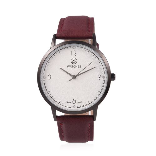 STRADA Japanese Movement Water Resistant White Austrian Crystal Studded Watch with Burgundy Colour S