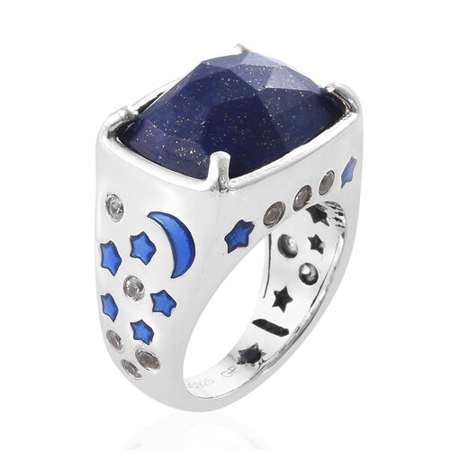 GP Lapis Lazuli (Cush 16x12 mm, 9.50 Ct), Natural Cambodian Zircon and Kanchanaburi Blue Sapphire Ring in Platinum Overlay Sterling Silver 10.000 Ct., Silver wt 8.15 Gms.