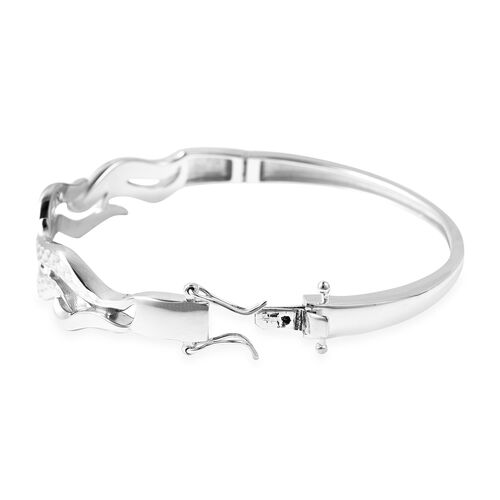 LucyQ Flame Collection - Rhodium Overlay Sterling Silver Diamond Cut Bangle (Size 7), Silver wt. 22.33 Gms