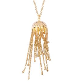 LucyQ Yellow Gold Overlay Sterling Silver Multi Drip Pendant with Chain (Size 36) 49.80 Gms.