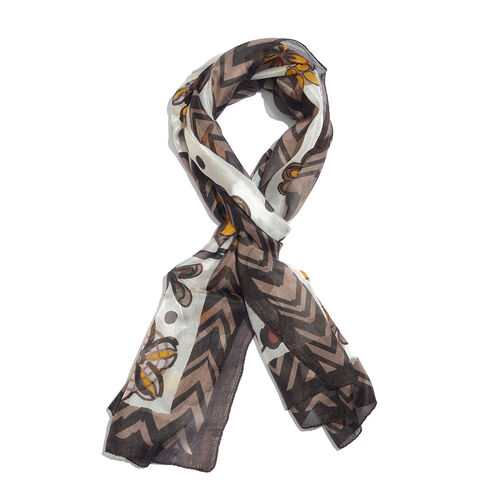 100% Mulberry Silk Chocolate, Yellow and Multi Colour Handscreen Floral Printed Scarf (Size 170X50 C
