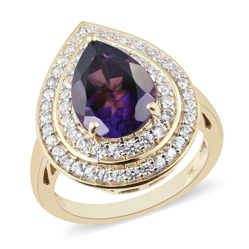 Limited Edition- 9K Yellow Gold Zambian Amethyst (Pear), Natural Cambodian Zircon Ring 5.750 Ct, Gold wt 7.20 Gms.