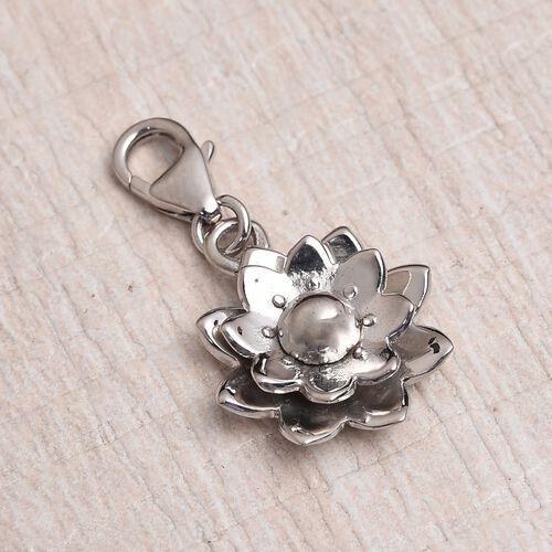 Platinum Overlay Sterling Silver Flower Charm