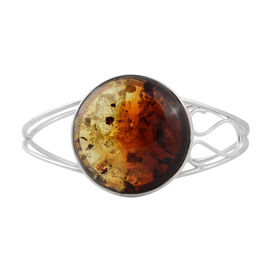 Baltic Amber Cuff Bangle in Silver 16.50 Grams 7.5 Inch