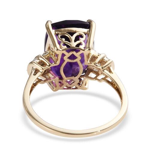 9K Yellow Gold AAA Moroccan Amethyst (Cush 14x10 mm), Diamond Ring 6.370 Ct.